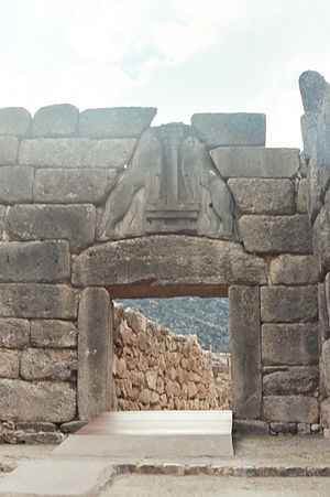 1250s BC - The Lion Gate at Mycenae (full view) – showing the stepped ramp through it