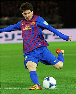 Lionel Messi, Player of FC Barcelona team.JPG