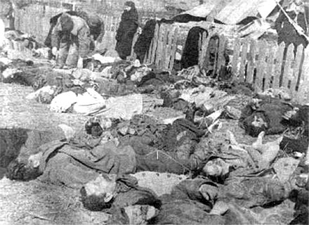 Victims of a massacre committed by the UPA in the village of Lipniki in Volhynia, 1943 Lipniki massacre.jpg
