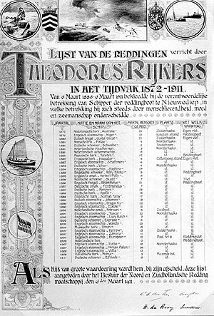 The Rescue of the Renown - A 1911 list showing Dorus Rijkers's most important rescues between 1872-1911 (including the Renown rescue). Note that his full name, Theodorus, is used here.