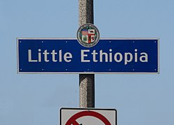 Little Ethiopia sign at Fairfax Avenue and Olympic Boulevard