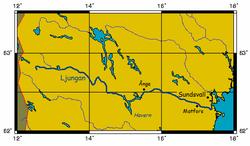 Kort over Ljungan