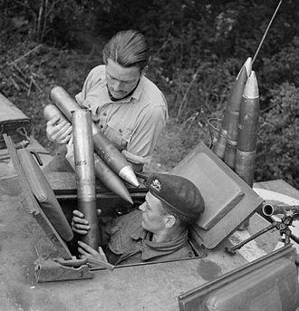 Ordnance QF 75 mm - Loading ammunition into a Churchill tank, Normandy July 1944