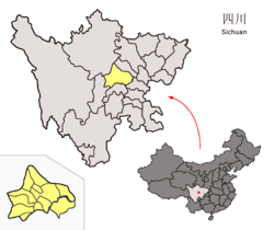 Location of Chengdu City jurisdiction (yellow) within Sichuan