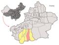 Location of Keriya within Xinjiang (China).png