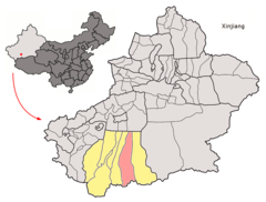 Location of Keriya within Xinjiang (China).png