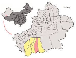 Yutian County, Xinjiang - Image: Location of Keriya within Xinjiang (China)