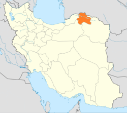 Map of Iran with North Khorasan highlighted