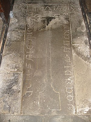 English Bicknor - 15th-century ledger stone in St Mary's inscribed with Lombardic script
