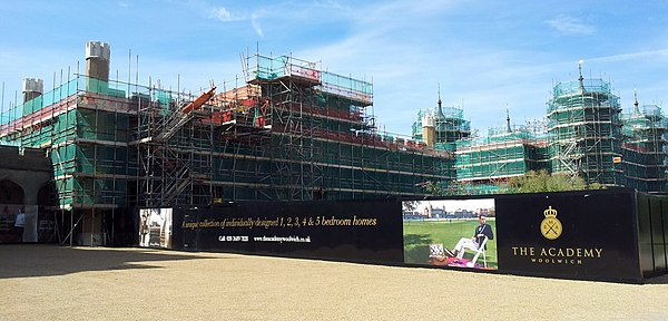 Refurbishment of the site underway in 2015 London, Woolwich-Shooters Hill, former Royal Military Academy 10.jpg