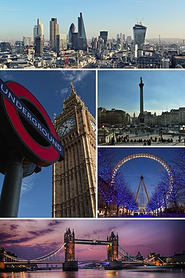 Clockwise from top: City of London skyline, Trafalgar Square, London Eye, Tower Bridge and a London Underground roundel in front of Elizabeth Tower