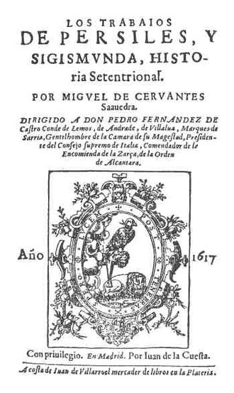 Los trabajos de Persiles y Sigismunda - Title page of first edition (1617)