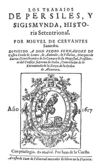 Title page of Persiles and Segismunda - Miguel de Cervantes