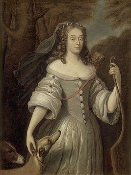 Клод Лефевр. Портрет Луизы-Франсуазы де Лабом Леблан, герцогини де Лавальер, в образе Дианы