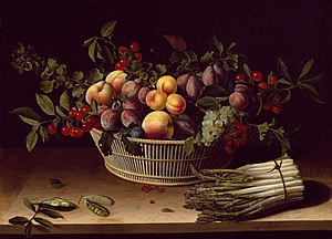 Basket of Fruit with a Bunch of Asparagus, 1630