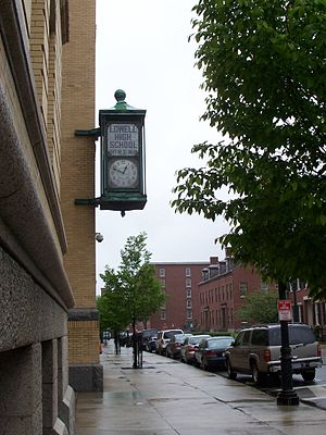 Lowell High School (Massachusetts) - Lowell High School Clock, a gift from three classes, is frequently used as a symbol of the school (2007).