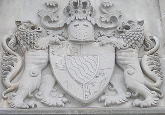Ludwig II of Bavaria - The coat of arms of King Ludwig over the entrance to Schloss Neuschwanstein