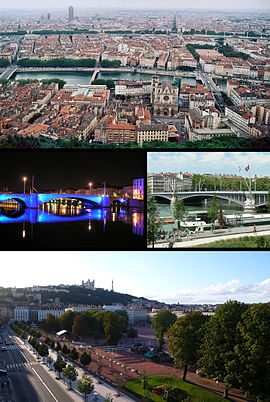 Tap, Lyon, wi the auld ceety in the foregrund. Centre, the Pont Bonaparte, at nicht, an the Pont Lafayette. Bottom, the Place Bellecour, wi the Basilica o Oor Lady an the Tour Metal in the backgrund.