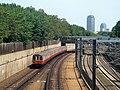 MBTA Orange Line train approaching Stony Brook, July 2016.JPG