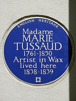 Photo of Marie Tussaud blue plaque