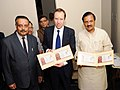 Mahesh Sharma and the Secretary of State for Digital, Culture, Media & Sport, UK, Mr. Matt Hancock during their visit to the exhibition 'India & The World – A History in Nine Stories', in New Delhi.JPG