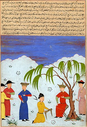 "Öljaitü - Öljaitü and ambassadors from the Yuan Dynasty, 1438, ""Majma' al-Tavarikh"""