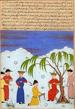 "Öljaitü - Öljaitü and ambassadors from the Yuan Dynasty, 1438, ""Majma' al-Tavarikh"""