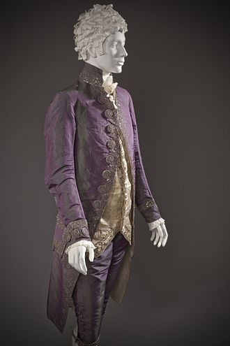 Shot silk - Man's shot silk suit, purple warp and green weft, c. 1790 (altered c. 1805). Los Angeles County Museum of Art.