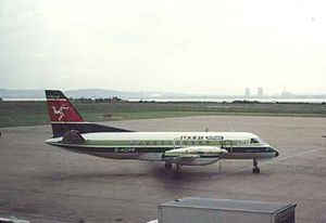 """Manx Airlines - Saab 340A """"City Hopper"""" at Liverpool on the Heathrow service in 1988"""