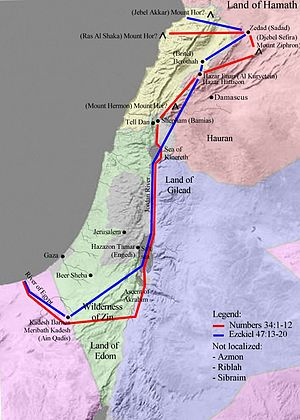 Map showing one interpretation of the borders of the Promised Land, based on God's promise to Moses (Numbers 34) and to Ezekiel (Ezekiel 47).