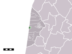 The town centre (darkgreen) and the statistical district (lightgreen) of Bergen aan Zee in the municipality of Bergen (NH).