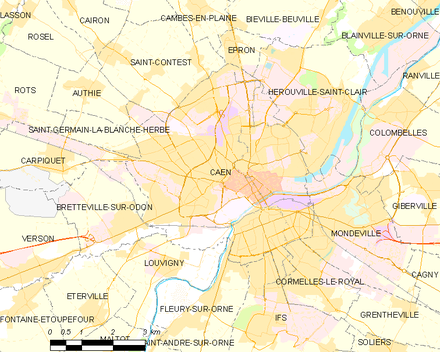 Carte de la commune. - Caen