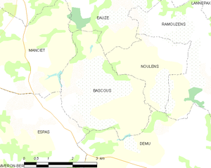 Bascous - Bascous and its surrounding communes
