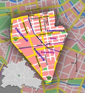Mehringplatz - Location of Mehringplatz within Friedrichstadt, Berlin