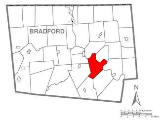 Asylum Township, Bradford County, Pennsylvania - Image: Map of Asylum Township, Bradford County, Pennsylvania Highlighted
