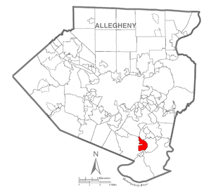 Map of Clairton, Allegheny County, Pennsylvania Highlighted.png