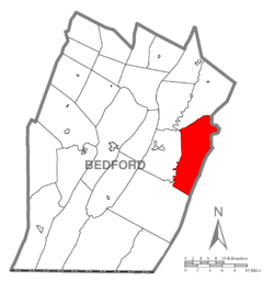 Map of Bedford County, Pennsylvania highlighting East Providence Township