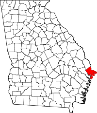 Map of Georgia highlighting Chatham County