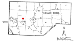 Map of Harmonsburg, Crawford County, Pennsylvania Highlighted.png
