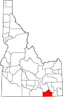 Map of Idaho highlighting Oneida County