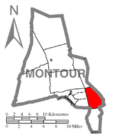 Map of Montour County, Pennsylvania Highlighting Cooper Township