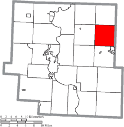 Location of Highland Township in Muskingum County