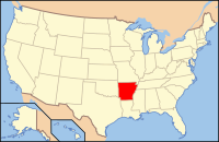 Map of the U.S. highlighting Арканзас