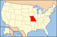 Map of the U.S. highlighting Missouri
