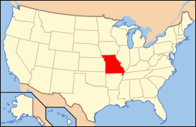 Map of USA with Missouri highlighted