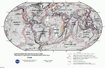 Mapo de aperoj de vulkana agado sur Tero (ruĝaj linioj – diverĝaj randoj, ruĝaj punktoj – apero