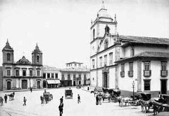 Praça da Sé - Cathedral square in a photo of 1880 by Marc Ferrez. The old Cathedral of São Paulo is the church to the right.