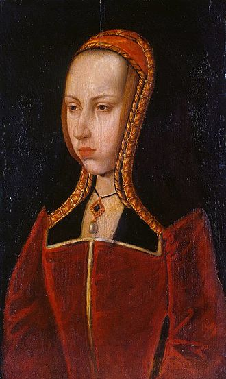 Pieter van Coninxloo - Portrait of Margaret of Austria, usually dated c 1505, however it may date from as early as 1493. Oil on panel, 36.7cm x 22.5cm. Windsor Castle, Berkshire.