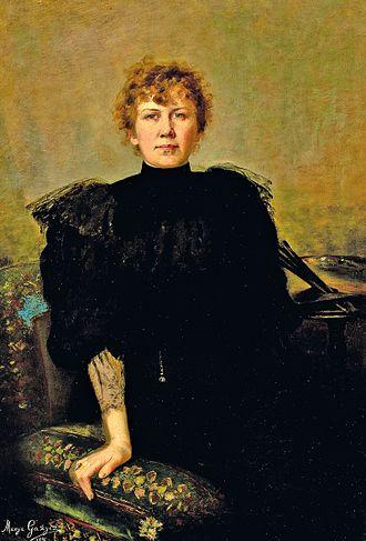 Maria Gażycz - Self-portrait with Palette (1896)