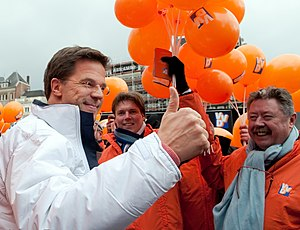 VVD-leader Mark Rutte campaigning in Amsterdam...